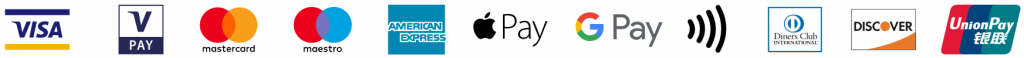 bargeldlose Zahlmethoden VISA, VPay , mastercard, Maestro, American Express, Apple Pay, Google Pay, NFC, Diners Club, Discover, Union Pay